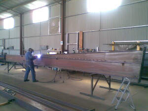 Big Rafter being fabricated
